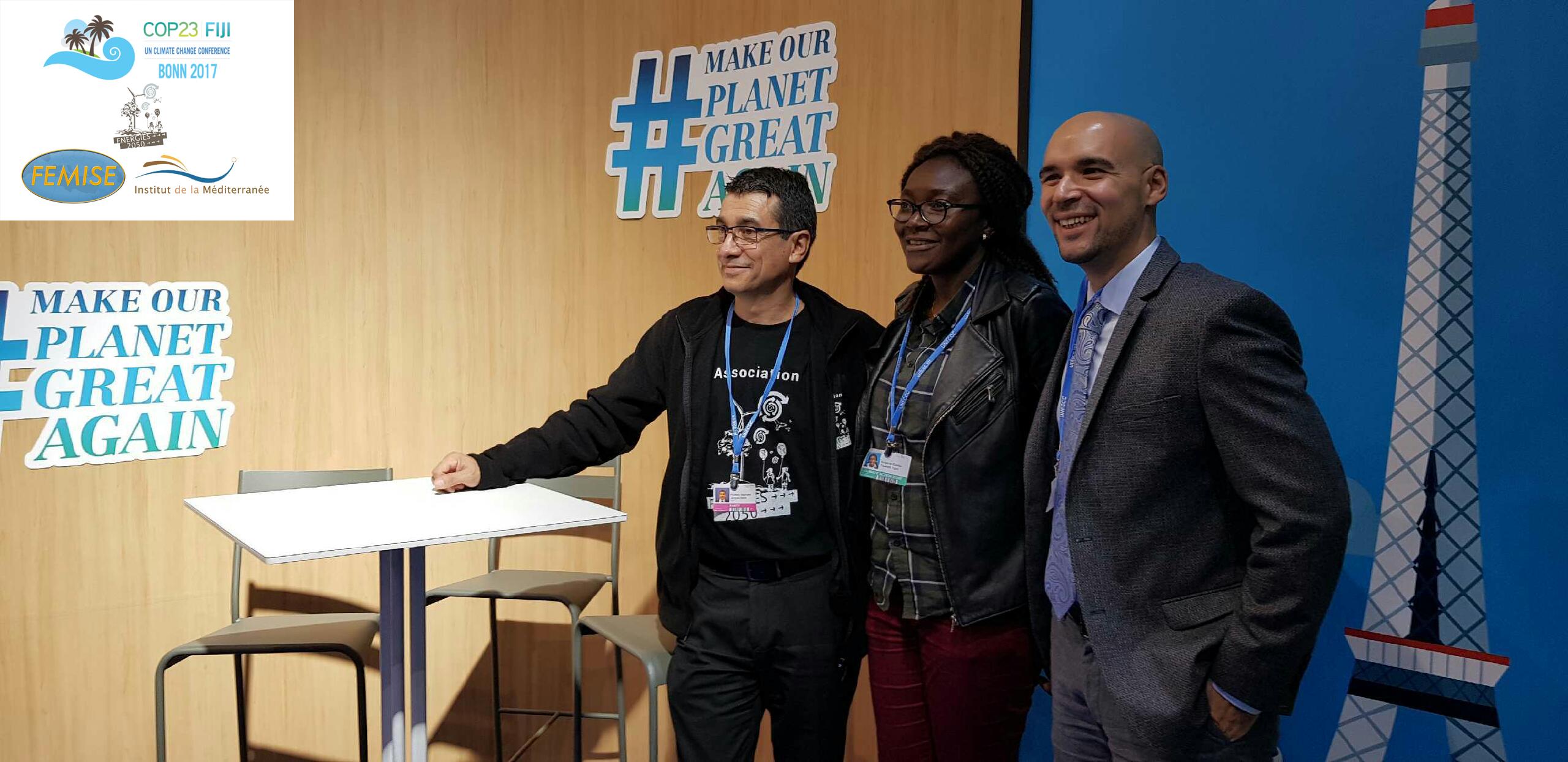 Stéphane Pouffary (ENERGIES2050), Gaelle Yomi (CGLU Afrique) et Constantin Tsakas (Institut de la Méditerranée et FEMISE)
