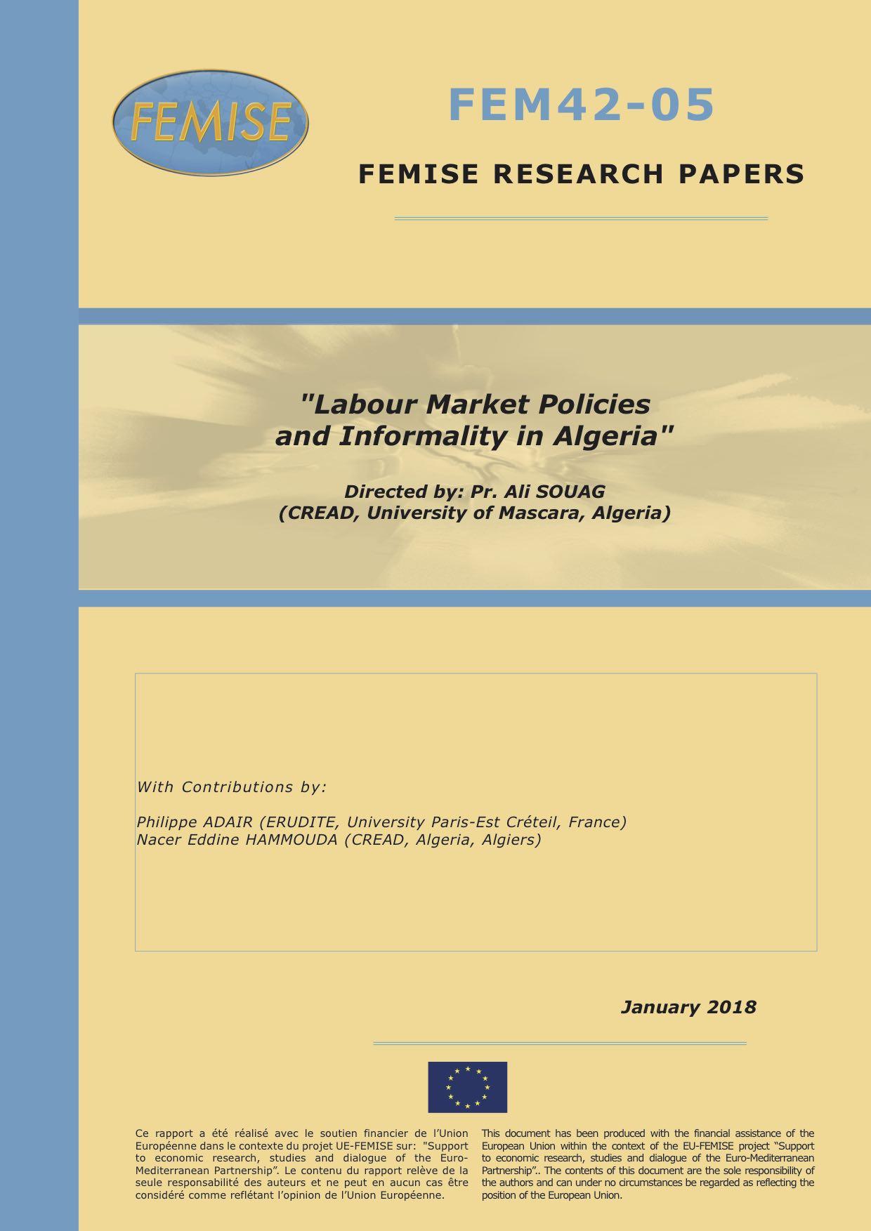 Politiques Du Marche Du Travail Et Informalite En Algerie Femise