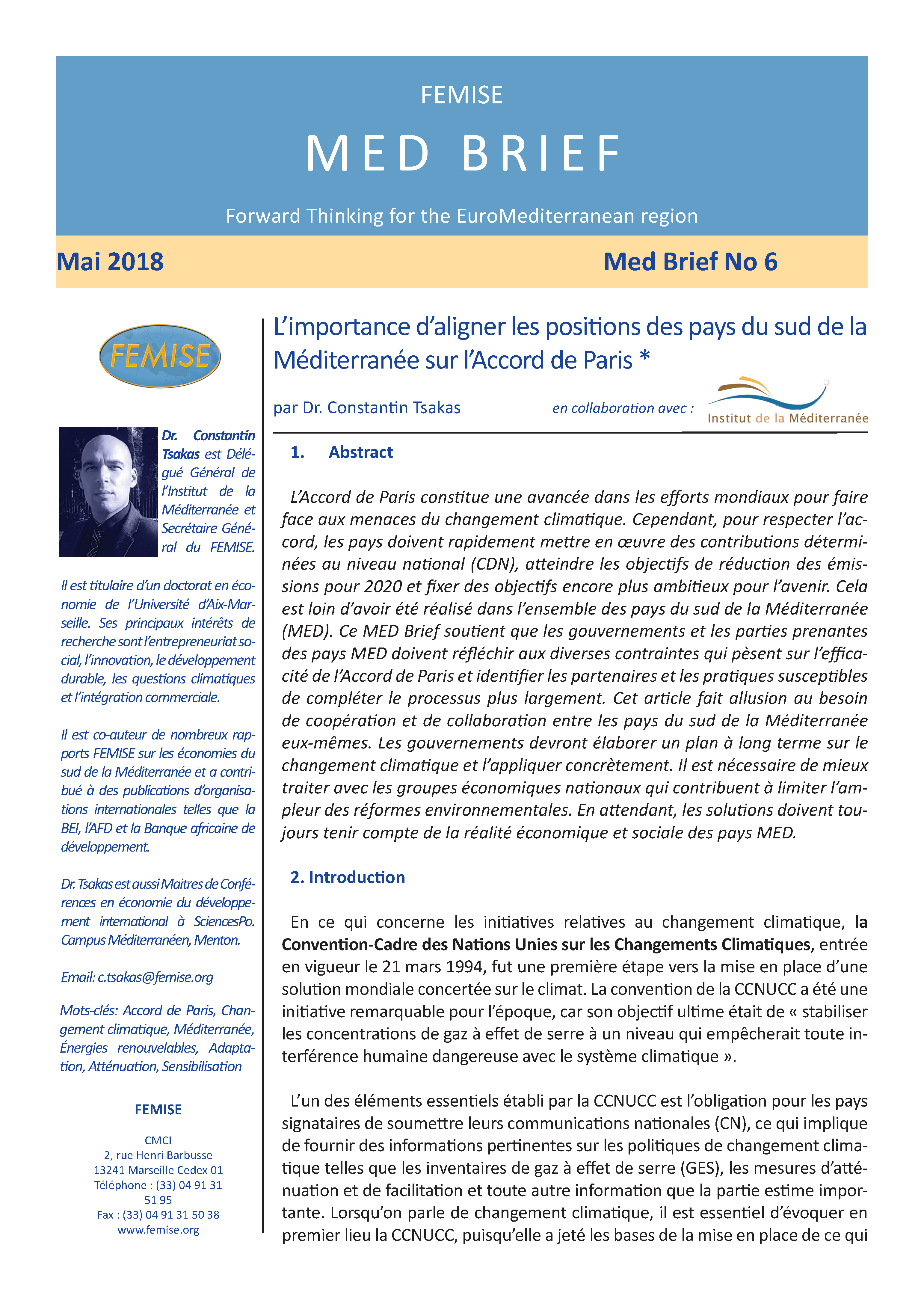 FEMISE MED BRIEF no6 : The Importance of Reconciling South MED ...